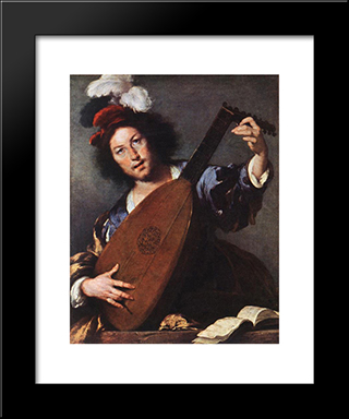 Lute Player:  Modern Black Framed Art Print by Bernardo Strozzi