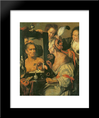Old Coquette:  Modern Black Framed Art Print by Bernardo Strozzi