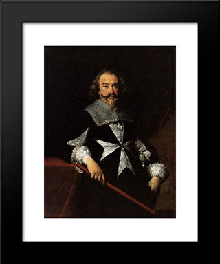 Portrait Of A Maltese Knight:  Modern Black Framed Art Print by Bernardo Strozzi