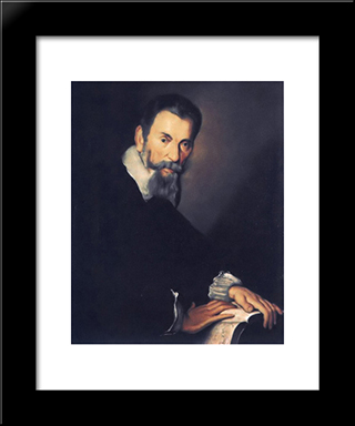 Portrait Of Claudio Monteverdi:  Modern Black Framed Art Print by Bernardo Strozzi