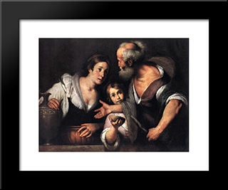 Prophet Elijah And The Widow Of Sarepta:  Modern Black Framed Art Print by Bernardo Strozzi