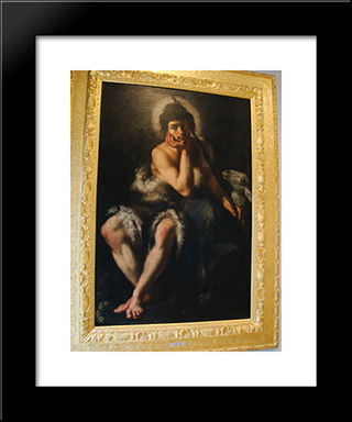 Saint John The Baptist:  Modern Black Framed Art Print by Bernardo Strozzi