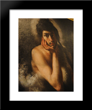 Saint John The Baptist (Detail):  Modern Black Framed Art Print by Bernardo Strozzi