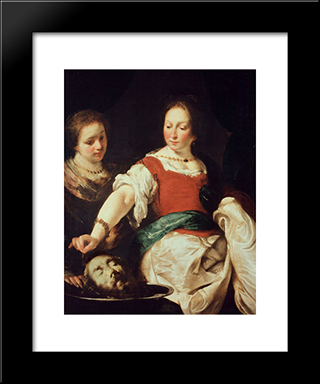 Salome:  Modern Black Framed Art Print by Bernardo Strozzi