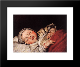 Sleeping Child:  Modern Black Framed Art Print by Bernardo Strozzi
