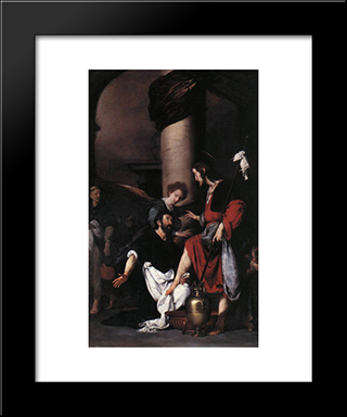 St. Augustine Washing The Feet Of Christ:  Modern Black Framed Art Print by Bernardo Strozzi