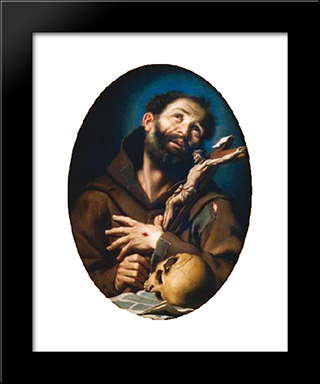 St. Francis Of Assisi:  Modern Black Framed Art Print by Bernardo Strozzi