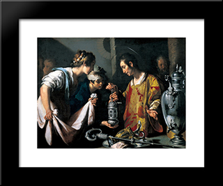 St. Lawrence Distributing The Riches Of The Church:  Modern Black Framed Art Print by Bernardo Strozzi