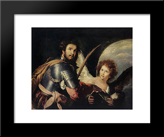 St. Maurice And The Angel:  Modern Black Framed Art Print by Bernardo Strozzi