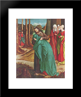 Christ Taking Leave Of His Mother:  Modern Black Framed Art Print by Bernhard Strigel