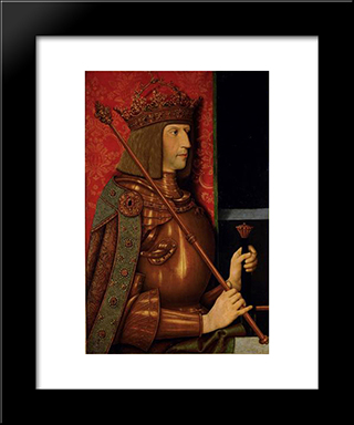 Emperor Maximilian I (1459-1519):  Modern Black Framed Art Print by Bernhard Strigel