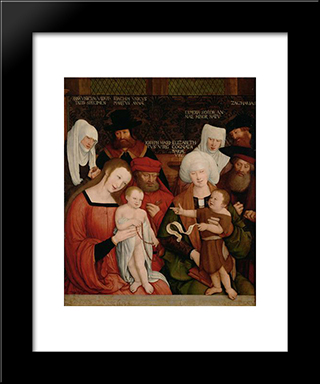 Holy Family:  Modern Black Framed Art Print by Bernhard Strigel