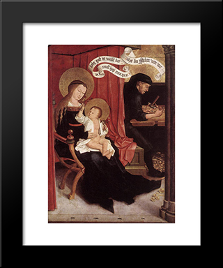 Mary And Joseph With Jesus:  Modern Black Framed Art Print by Bernhard Strigel