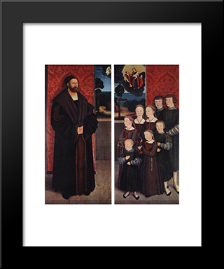 Portrait Of Conrad Rehlinger And His Children:  Modern Black Framed Art Print by Bernhard Strigel