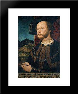 Portrait Of Count Johann Ii, Count Of Montfort And Rothenfels:  Modern Black Framed Art Print by Bernhard Strigel