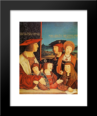 Portrait Of Emperor Maximilian And His Family:  Modern Black Framed Art Print by Bernhard Strigel