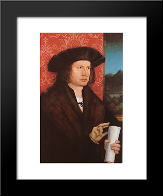 Portrait Of Georg Tannstetter (Collimitius):  Modern Black Framed Art Print by Bernhard Strigel