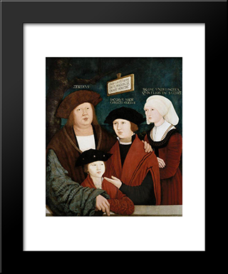 Portrait Of The Cuspinian Family:  Modern Black Framed Art Print by Bernhard Strigel