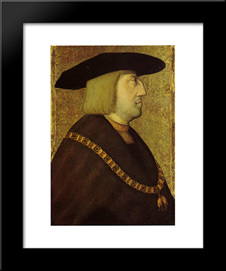 Portrait Of The Emperor Maximilian I:  Modern Black Framed Art Print by Bernhard Strigel