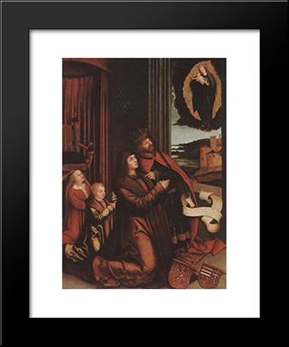 St. Ladislas Presents Wladislav Ii And His Sons To The Virgin:  Modern Black Framed Art Print by Bernhard Strigel