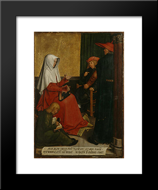 St. Mary Salome And Zebedee With John The Evangelist And James The Great:  Modern Black Framed Art Print by Bernhard Strigel
