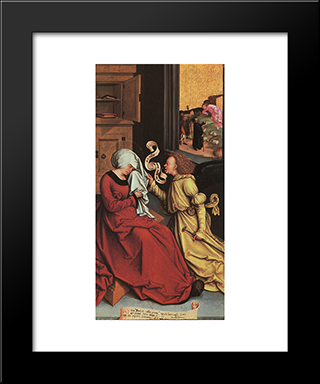 The Announcement To Anne And Joachim:  Modern Black Framed Art Print by Bernhard Strigel