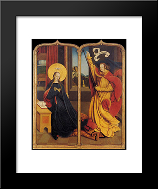 The Annunciation:  Modern Black Framed Art Print by Bernhard Strigel