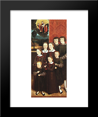 The Eight Children Konrad Rehlinger:  Modern Black Framed Art Print by Bernhard Strigel
