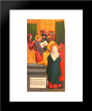 Twelve-Year-Old Jesus In The Temple:  Modern Black Framed Art Print by Bernhard Strigel