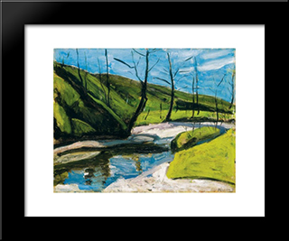 Brookside:  Modern Black Framed Art Print by Bertalan Por