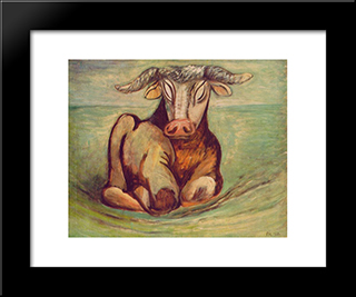 Bull I:  Modern Black Framed Art Print by Bertalan Por