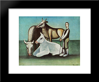 Bulls:  Modern Black Framed Art Print by Bertalan Por