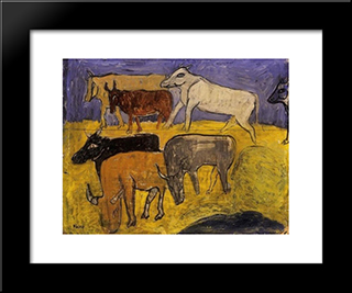 Calf:  Modern Black Framed Art Print by Bertalan Por