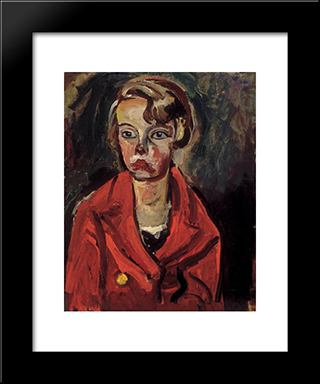 Child In Red Coat:  Modern Black Framed Art Print by Bertalan Por