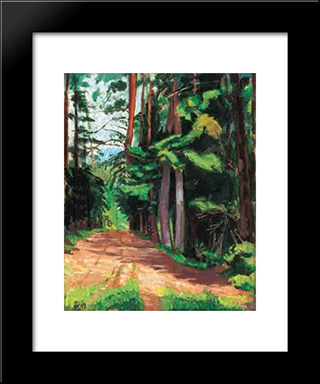 Forest Path:  Modern Black Framed Art Print by Bertalan Por