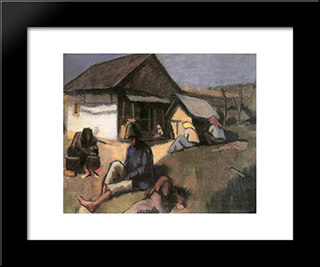 Gypsies:  Modern Black Framed Art Print by Bertalan Por