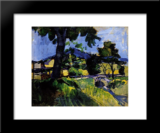 Landscape By A Brook:  Modern Black Framed Art Print by Bertalan Por