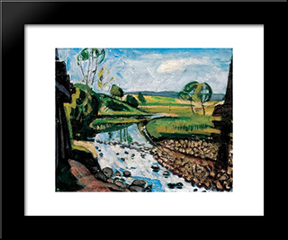 Landscape In Krahovice:  Modern Black Framed Art Print by Bertalan Por