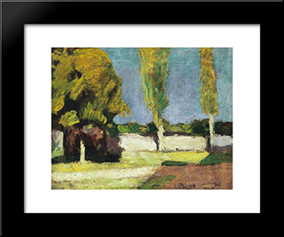 Landscape In The Alfold With Young Men:  Modern Black Framed Art Print by Bertalan Por