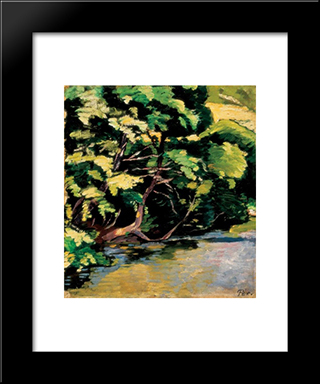 Lights On The Riverside:  Modern Black Framed Art Print by Bertalan Por