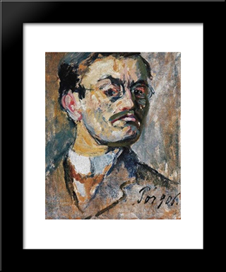 Self - Portrait:  Modern Black Framed Art Print by Bertalan Por
