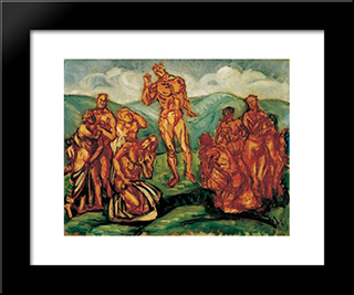 Sermon On The Mountain:  Modern Black Framed Art Print by Bertalan Por
