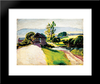 Sunlit Landscape With Bridge:  Modern Black Framed Art Print by Bertalan Por