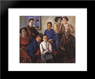 The Family:  Modern Black Framed Art Print by Bertalan Por