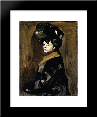 Woman With A Hat:  Modern Black Framed Art Print by Bertalan Por