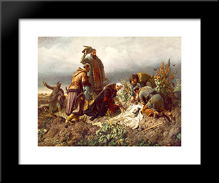 Discovery Of The Body Of King Louis The Second:  Modern Black Framed Art Print by Bertalan Szekely