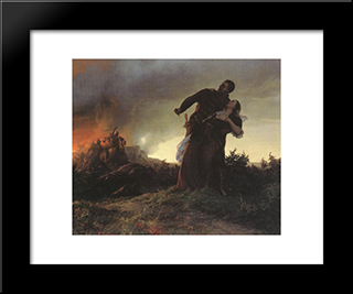 Mihaly Dobozi And His Wife:  Modern Black Framed Art Print by Bertalan Szekely