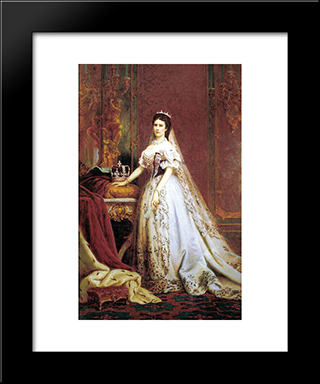 Queen Elisabeth Of Hungary And Bohemia:  Modern Black Framed Art Print by Bertalan Szekely