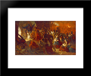 Zrinyi'S Charge From The Fortress Of Szigetvar:  Modern Black Framed Art Print by Bertalan Szekely