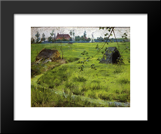 A Bit Of Holland Meadows (Aka A Bit Of Green In Holland):  Modern Black Framed Art Print by William Merritt Chase